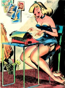 Sexy blond illustrated pin up in lingerie typing with cigarette